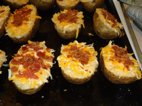 Well... make a twice baked potato... then freeze it before putting it in the oven the second time!